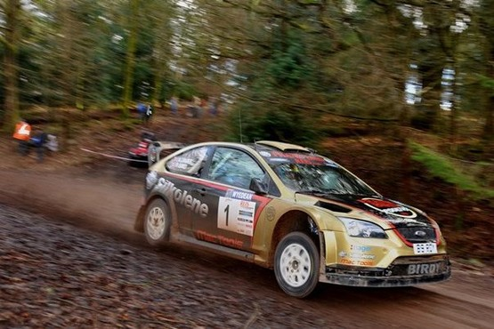Eventual winner Paul Bird with co-driver Aled Davies on their way to victory in the  Weir Engineering Wyedean Forest Rally in the Forest of Dean on Saturday. Photo Chas Breton.